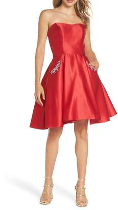 Blondie Nites Strapless Satin Fit & Flare Party Dress