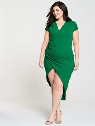 AX Paris CURVE Cap Sleeve Wrap Midi Dress - Jade Green