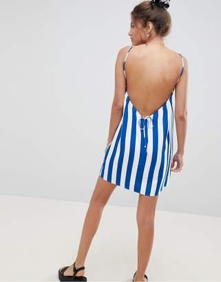 Asos Design Low Back Cami Sundress In Bold Stripe