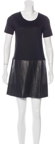 Burberry Burberry Brit Leather-Paneled Wool Dress