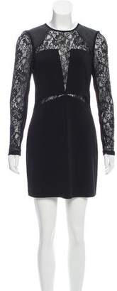 Yigal Azrouel Cut25 by Leather-Trimmed Long Sleeve Dress