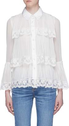 Alice + Olivia 'Kartwright' bell sleeve tiered pleated shirt