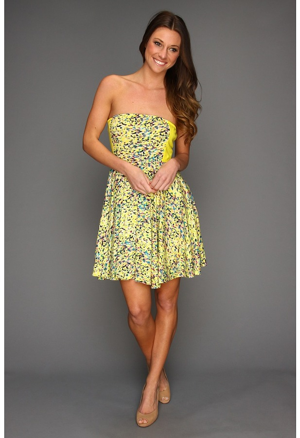 Hurley Gemma Strapless Dress (Juniors) (Citrus Yellow) - Apparel