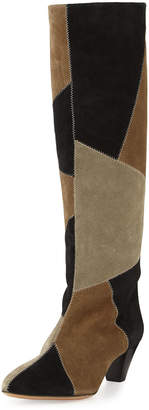 Isabel Marant Ross Patchwork Suede Tall Boot, Black/Taupe