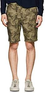 Barneys New York MEN'S CAMOUFLAGE COTTON TWILL SHORTS-OLIVE SIZE 28