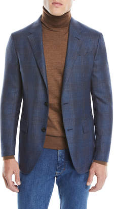 Ermenegildo Zegna Men's Cashmere/Silk Plaid Two-Button Jacket
