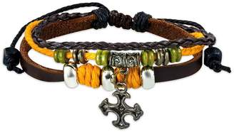 NRG Leather Bracelets Fashion Triple Wrap Rope Braided Bali Wood Beads Cross Charm Adjustable Brown Leather Bracelet Length: 8""