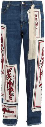 J.W.Anderson Printed-appliqué straight-leg jeans