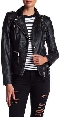 Blanc Noir Faux Leather Moto Jacket