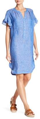 Joie Fermina Linen Ruffle Sleeve Dress