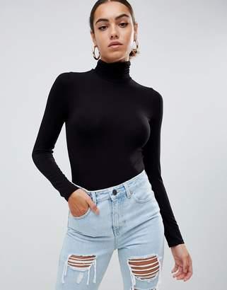 Asos DESIGN turtleneck long sleeve body in black