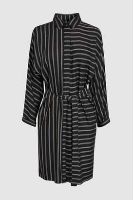Next Womens Black Stripe Belted Shirt Dress