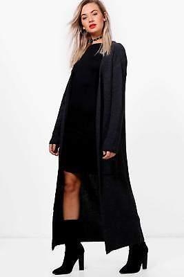 boohoo Womens Freya Midi Length Chunky Cardigan in Charcoal size S/M
