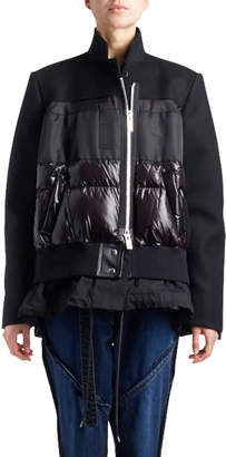 Sacai Stand-Collar Zip-Front Coat with Puffer Combo