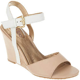Me Too Leather Wedges with Ankle Strap - Lucie