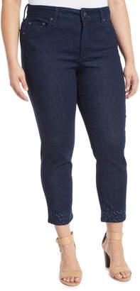 NYDJ Sheri Embellished-Ankle Skinny Jeans, Plus Size