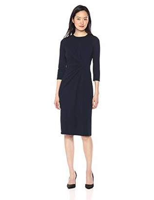 Maggy London Women's Solid Novlety Jersey Draped Sheath