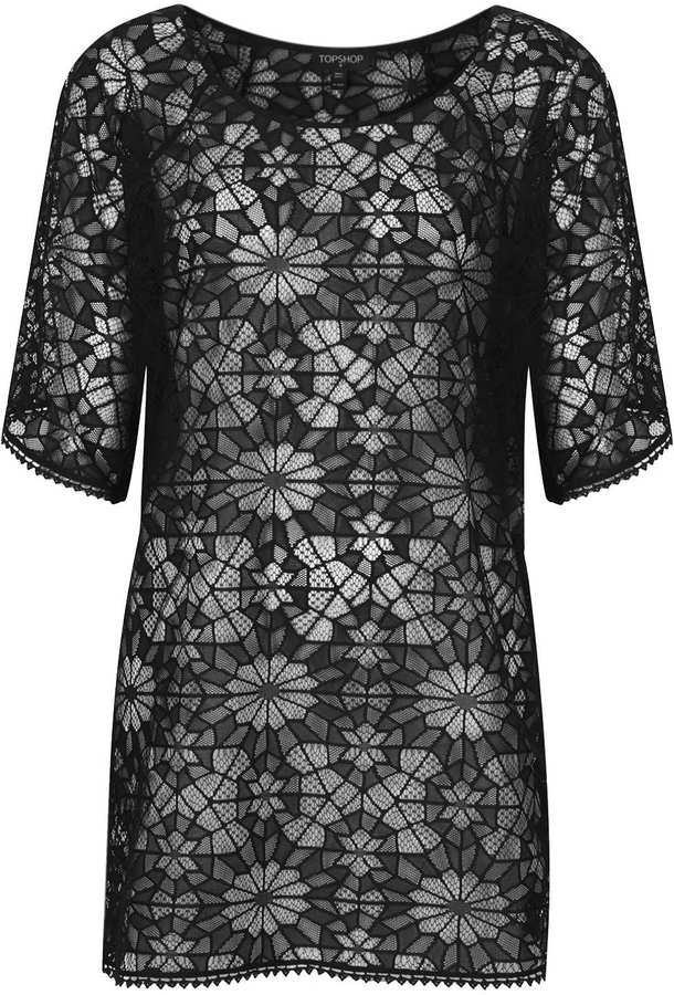 Topshop Black Lace Kaftan Cover Up
