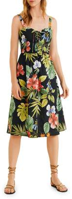MANGO Fame Cotton Linen-Blend Midi Fit--Flare Dress