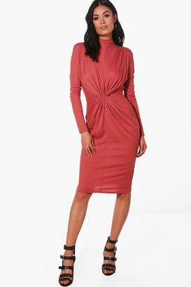 boohoo Harmony Rib Knot Front Bodycon Dress