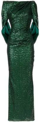 Talbot Runhof split sleeve gown