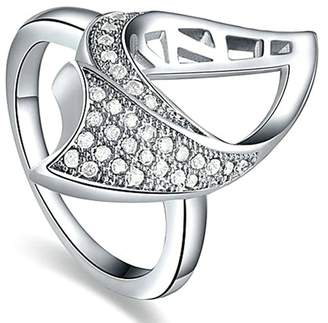 Aokarry Wedding Ring, Silver Plated Good Cut Her Ring Cubic Zirconia Wedding Ring and Band Women