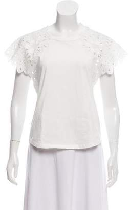 Rebecca Taylor Lace Embroidered Short Sleeve Top w/ Tags