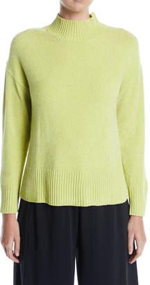 Joan Vass Mock-Neck Chenille Pullover Sweater