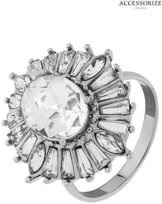 Accessorize Womens Clear Maryilyn Crystal Deco Cocktail Ring - Natural