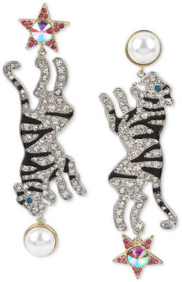 Betsey Johnson Two-Tone Crystal & Imitation Pearl Tiger Mismatch Earrings