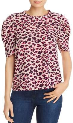 Aqua Puff-Sleeve Leopard Print Top - 100% Exclusive