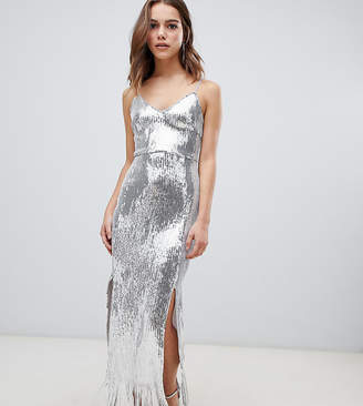 Parisian Petite sequin maxi dress with tassle trim