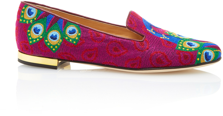Charlotte Olympia Charlotte Olympia M'O Exclusive: Peacock Embroidered Canvas Slippers