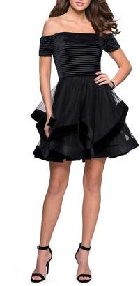 La Femme Off the Shoulder Velvet & Tulle Party Dress