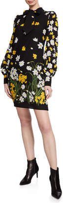 Andrew Gn Floral-Print Neck-Tie Blouson Sleeve Shift Dress