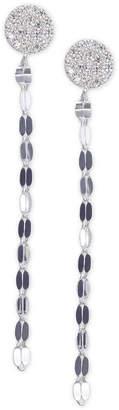 Unwritten Cubic Zirconia Pave Chain Linear Drop Earrings in Sterling Silver