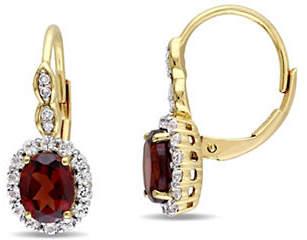 HBC CONCERTO Garnet and Diamond 14K Yellow Gold Vintage Earrings