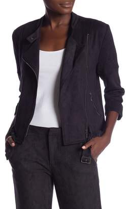 David Lerner Micro Faux Suede Cropped Jacket