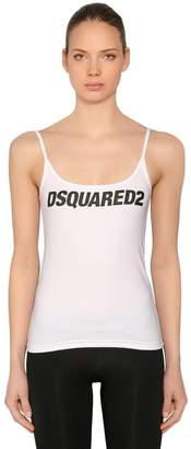 DSQUARED2 Logo Printed Cotton Jersey Tank Top