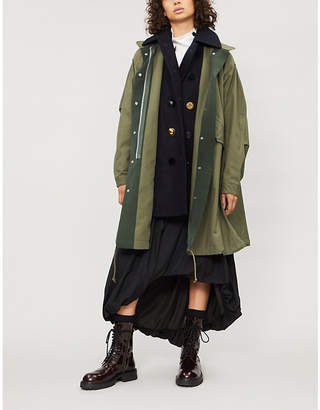 Sacai Underlay-detail oxford-cotton coat