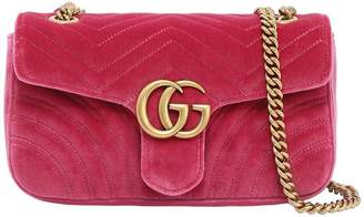 Gucci Small Gg Marmont 2.0 Velvet Shoulder Bag