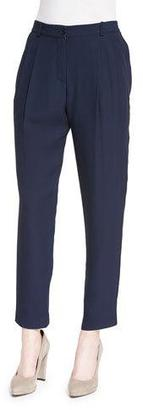 Armani Collezioni Textured Pleated-Front Trousers, Navy $795 thestylecure.com