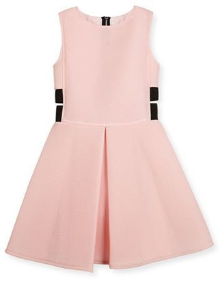 David Charles Sleeveless Pleated Mesh Neoprene Fit-and-Flare Dress, Pink, Size 8-16 $210 thestylecure.com
