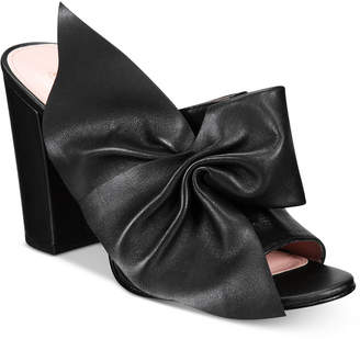 AVEC LES FILLES Marie Bow Block-Heel Slides Women's Shoes