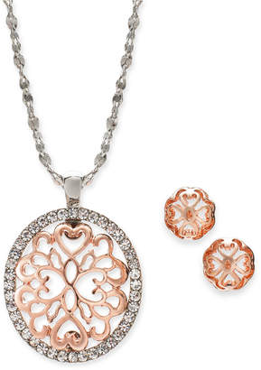 "Charter Club Two-Tone Pave Filigree Oval Pendant Necklace & Stud Earrings, 17"" + 2"" extender, Created for Macy's"