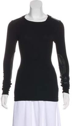 Maggie Ward Vegan Leather-Trimmed Rib Knit Top