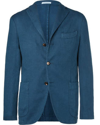 Boglioli Petrol Unstructured Waffle-Knit Cotton, Linen And Silk-Blend Blazer