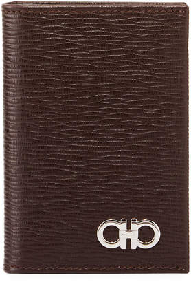 Salvatore Ferragamo Men's Revival Bi-Fold Lizard-Embossed Leather Card Case