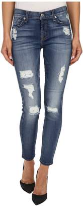 7 For All Mankind The Ankle Skinny w/ Destroy in Distressed Authentic Light 2 Women's Jeans