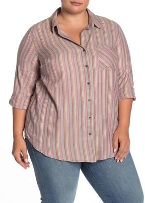 Susina Burnout Printed Button Down Tunic Shirt (Plus Size)
